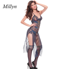 Купить с кэшбэком MMD 8159 2014 New Arrival Plus Size Lingerie Sexy Lingerie Hot Dark Blue Mesh 160cm Long Erotic Porn Robe Gown Nighty Negligee