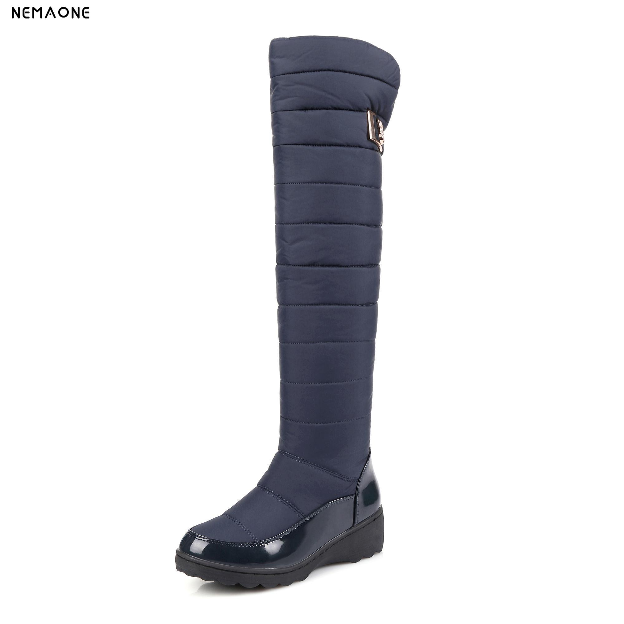 NEMAONE Plus size 34-44 Women Boots Winter Ladies Down Plush Snow Boots Fashion Wedge Low Heeled Knee High Warm Shoes For Woman консоль 195x135 70 бел