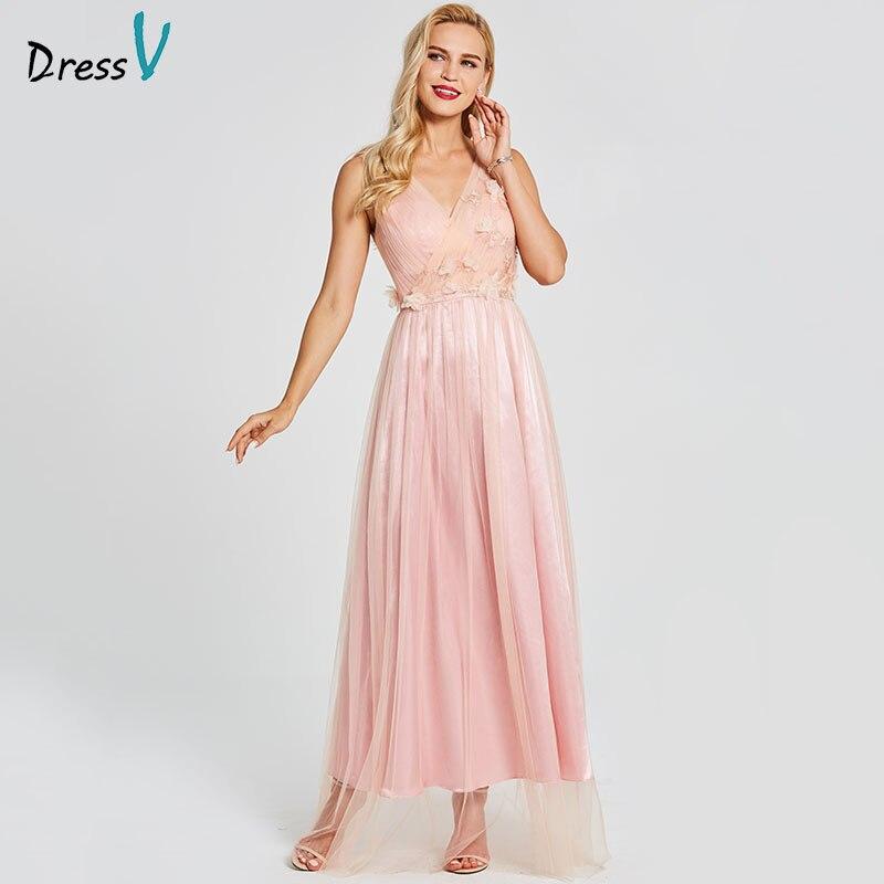Dressv Pink Evening Dress Cheap V Neck A Line Backless