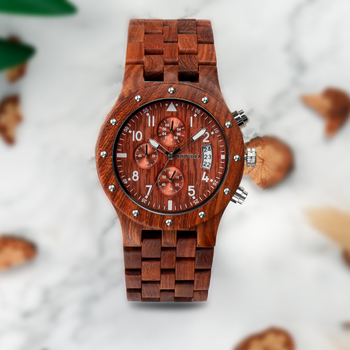 BEWELL Stylish Sandalwood Quartz Wrist Wood Watch For Men