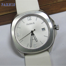 40mm Parnis White Dial Stainless Steel Case Automatic Watch White rubber strap Wristwatch