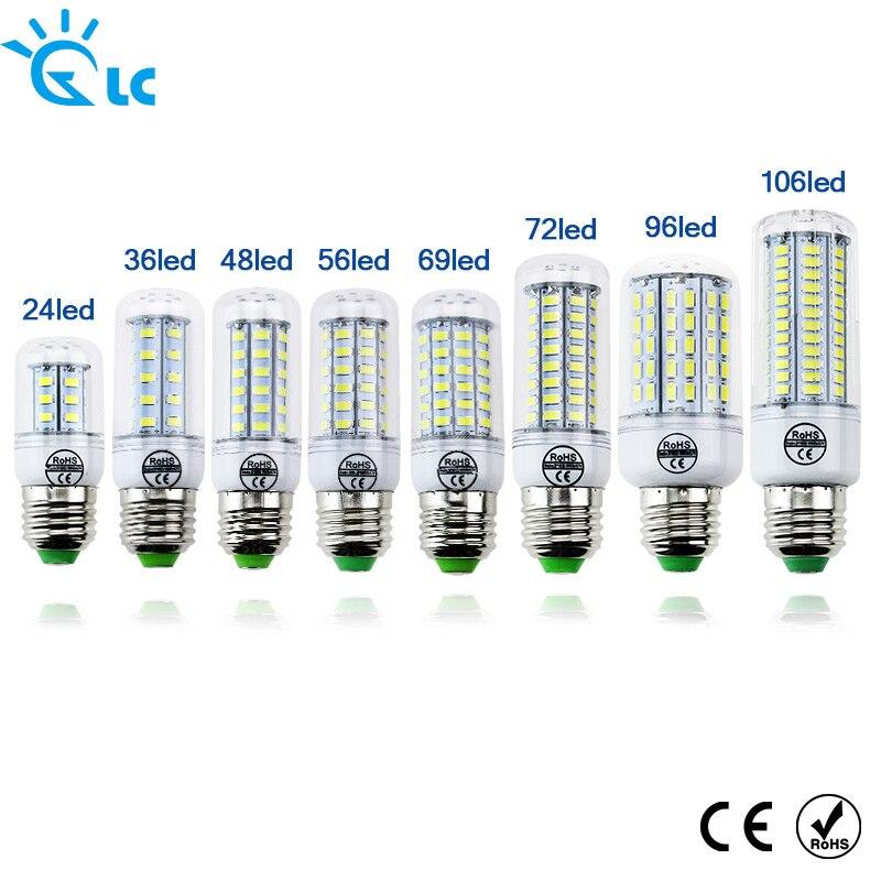 Светодиодный лампы накаливания E27 E14 свечах Bombillas 220 В SMD 5730 украшения дома лампы для люстры Spotlight 24 36 48 56 69 106 светодиодный s