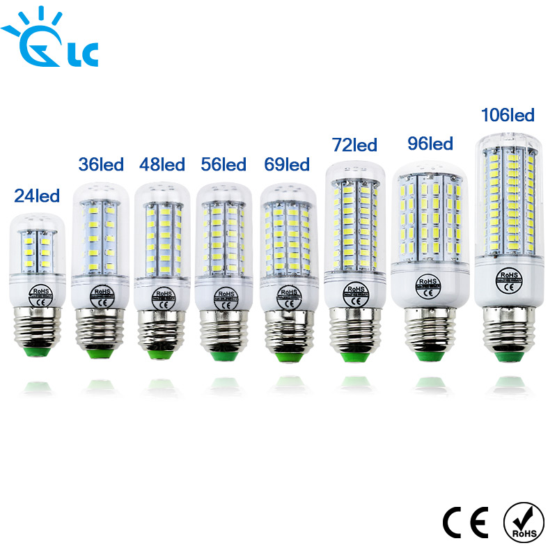 LED lamp Bulb E27 E14 Candle Light Bombillas 220V SMD 5730 Home Decoration Lamp for Chandelier Spotlight 24 36 48 56 69 106LEDs enwye e14 led candle energy crystal lamp saving lamp light bulb home lighting decoration led lamp 5w 7w 220v 230v 240v smd2835