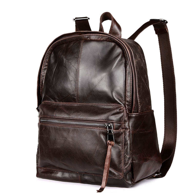 Retro Oil Wax Leather Shoulder Bag Student Computer Bag Leather Bag Pure Color Men Backpack the imported oil wax pattern leather singel shoulder satchel small men s messager bag retro 7 inch for outdoor tourism