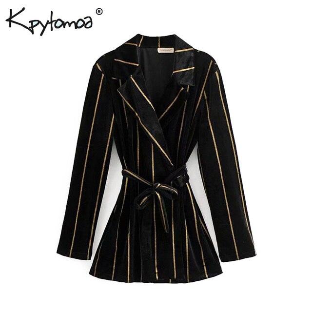 a69208813e8b Elegante Vintage de terciopelo a rayas chaqueta de abrigo de las mujeres  2019 de moda nueva