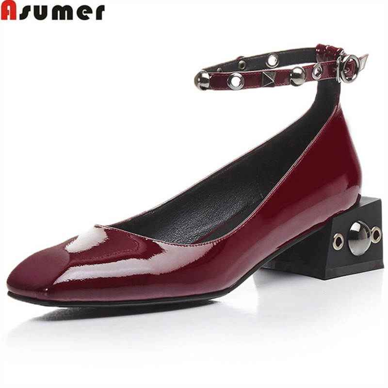 ASUMER wine red fashion square toe buckle casual mary janes shoes woman square heel rivet women med heels genuine leather shoes xiaying smile woman pumps shoes women mary janes british style fashion new elegant spring square heels buckle strap rubber shoe