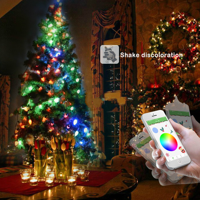 Outdoor christmas tree string led lights for wedding garden home outdoor christmas tree string led lights for wedding garden home decorations smart bluetooth app controlled music junglespirit Images