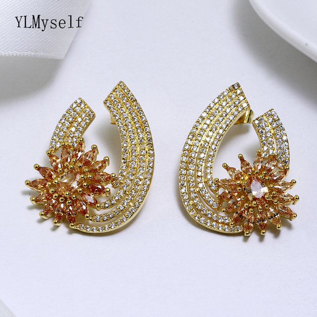 Beautiful New Large Stud Earring Pave Champagne Red Crystal Stones Gold Plate Jewelry Women Post