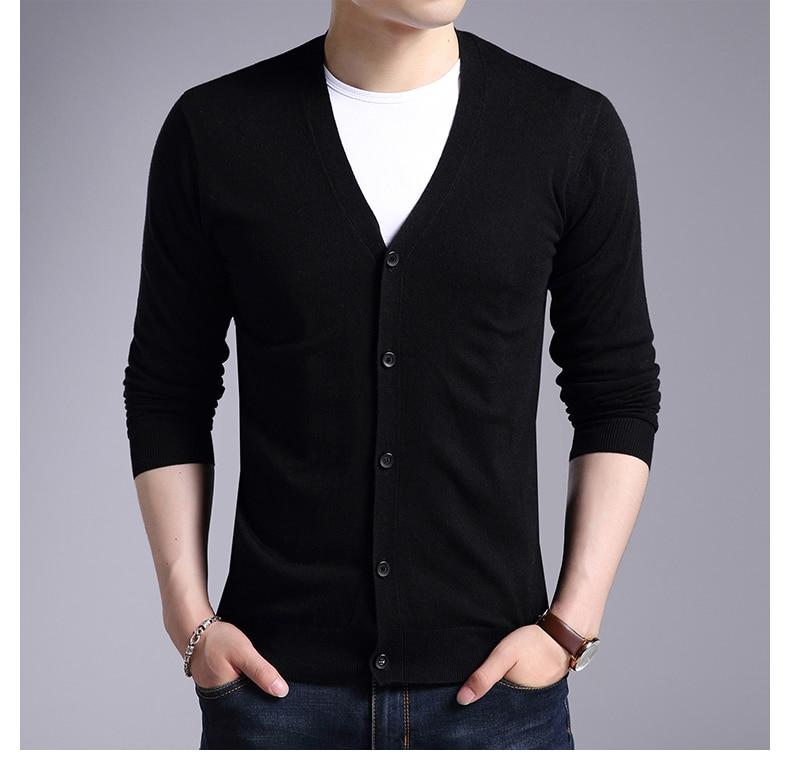 Printemps automne mince chaud laine chandail paragraphe cardigan mâle loisirs v-cou tricot rendre non doublé vêtement supérieur bonne qualité