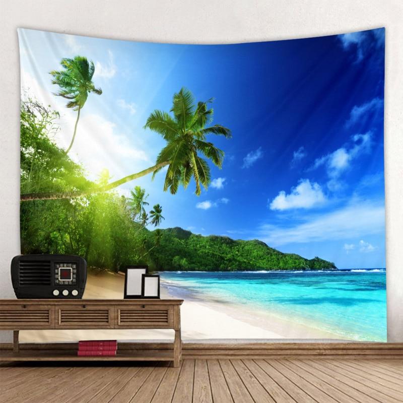 Tenture plage et océan 2 Tapisserie murale avec motif arbre vert ensoleill d coration murale style boh me style Hippie bon