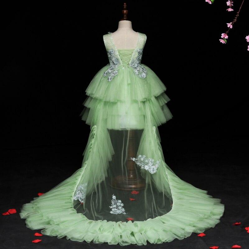 High Quality Girls Host Wedding Dress Long Trailing Halloween Party Tulle Princess Birthday Dress Christmas Communion Dresses цена 2017
