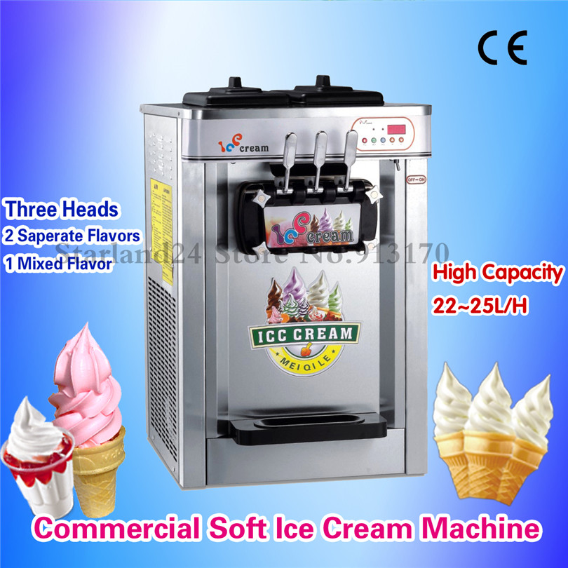 Commerciële Ijs Machine 3 Heads Desktop Kleurrijke Rvs Soft Ijsmachine 22 ~ 25 Liter/H 220 V - 6