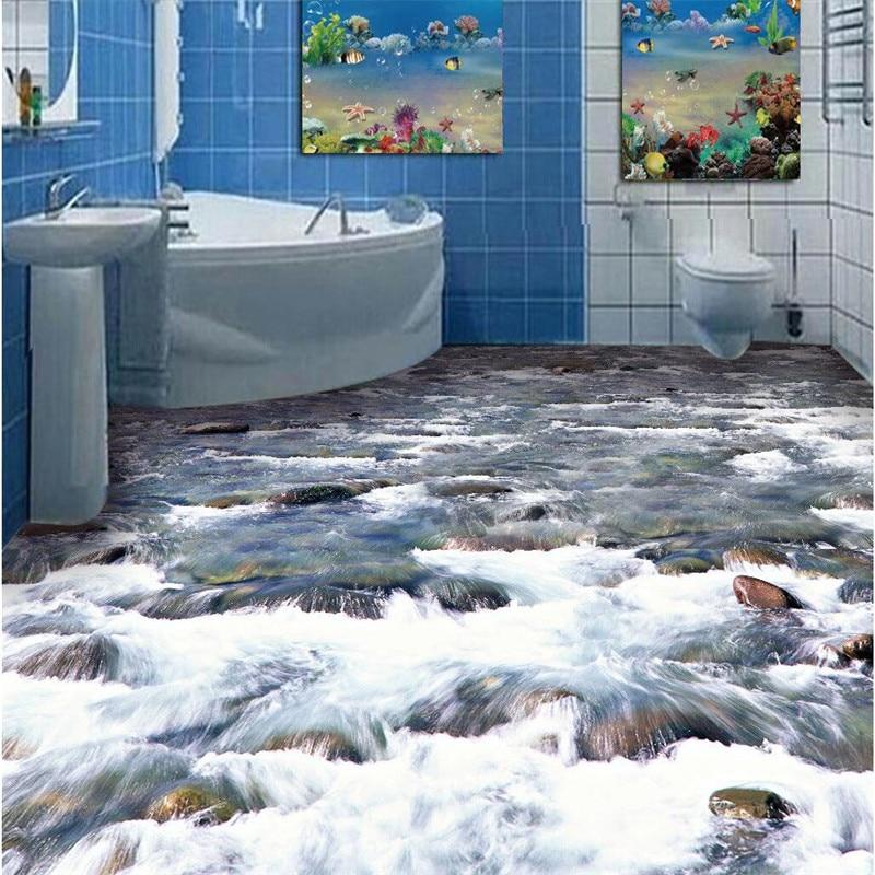 beibehang Custom Floor painting 3D Wall paper crystal clear river water Bathroom Floor PVC Wallpaper Self-adhesive wall sticker