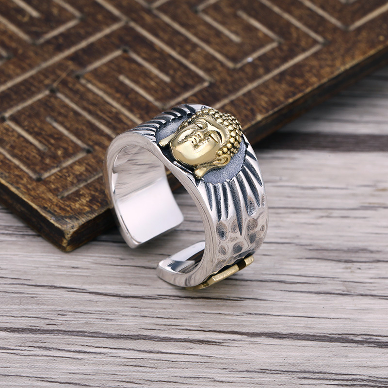 Real Pure 925 Sterling Silver Rings For Men And Women With Swastika Buddha Figures Rings In Fijne Sieraden ResizableReal Pure 925 Sterling Silver Rings For Men And Women With Swastika Buddha Figures Rings In Fijne Sieraden Resizable