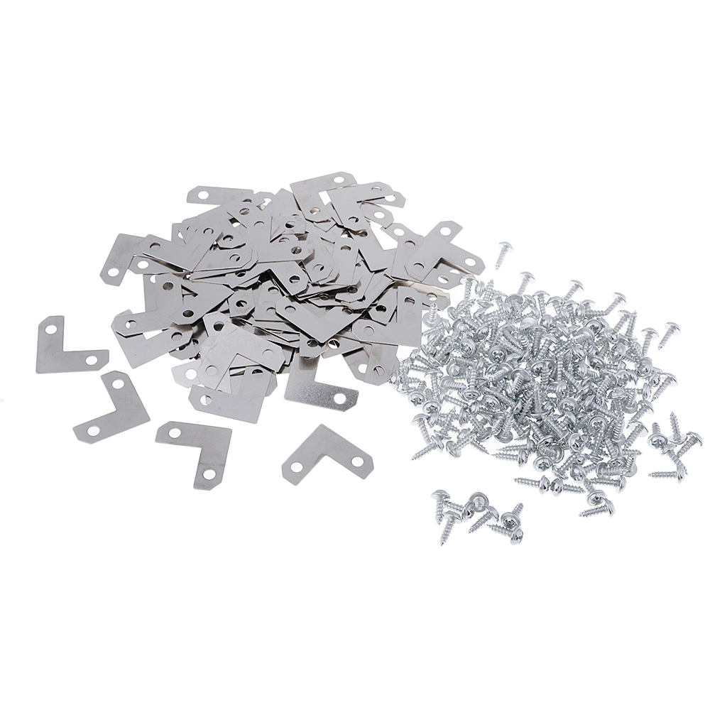 100 Piece Metal Corner Brace Plate Right Angle Flat Bracket for Photo Frame Picture Frame