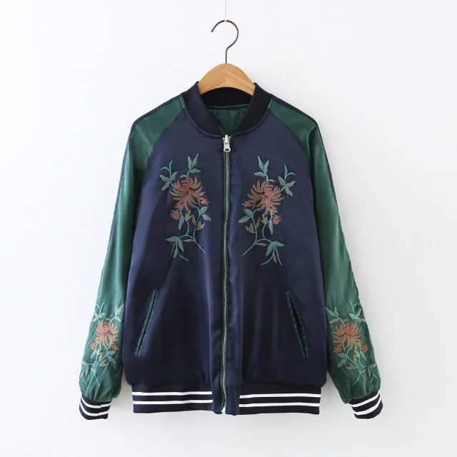 Free shipping casual women s wear on both sides embroidery minimalist double color stitching cotton coat