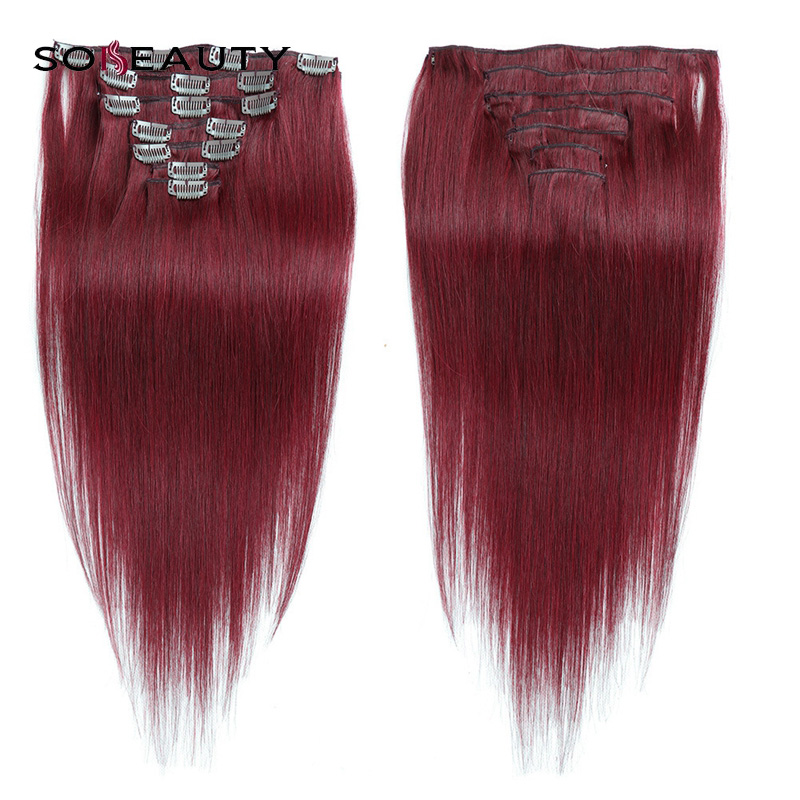 Sobeauty Red Clip In Hair 16''18''20''22'' Clip In Human Hair Extensions Straight  Hair for Women Machine Made Remy Hair(China)