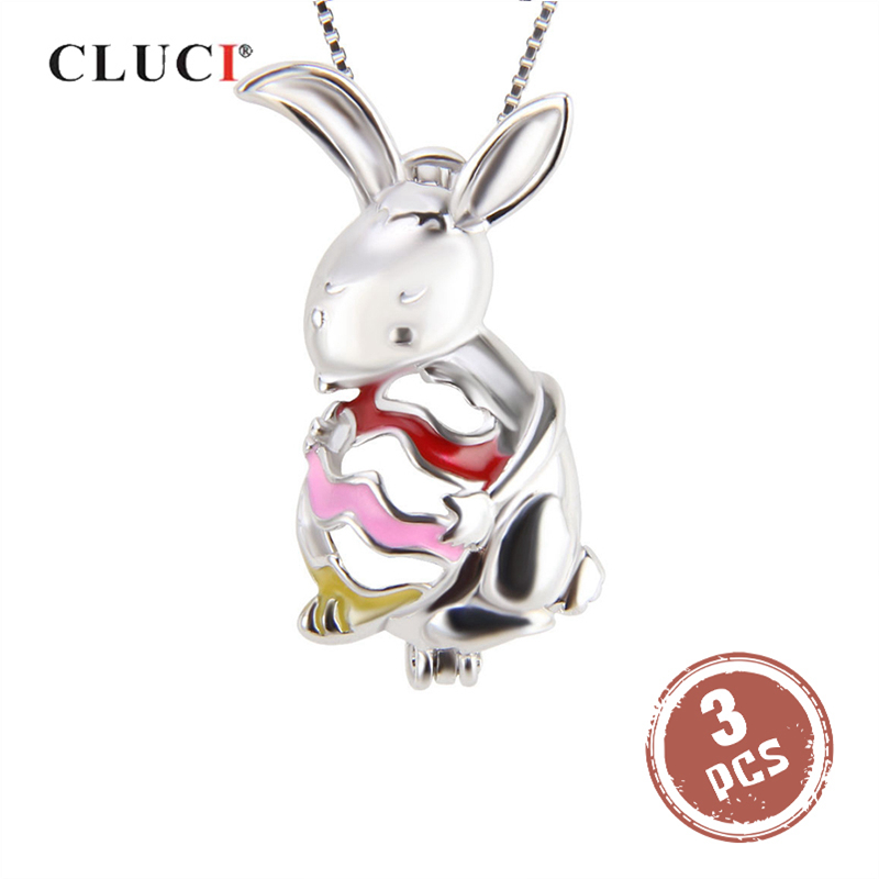 Bunny Rabbit Charm Sterling Silver Pendant 3D Animal Easter