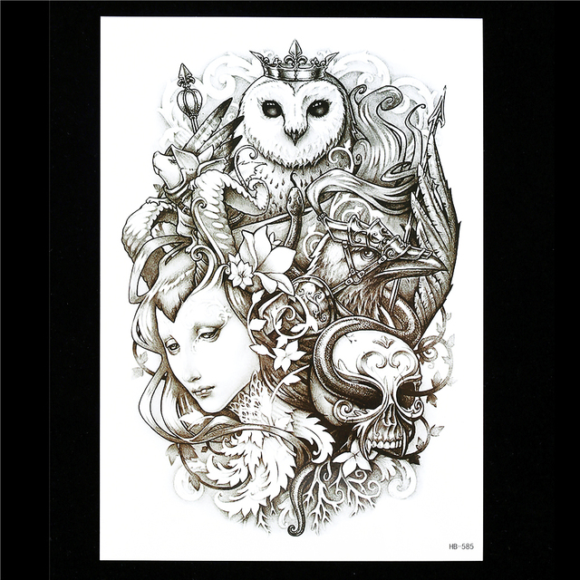 1pc black temporary tattoo sticker owl king skull bone eagle design hb585 flower arm body sleeve