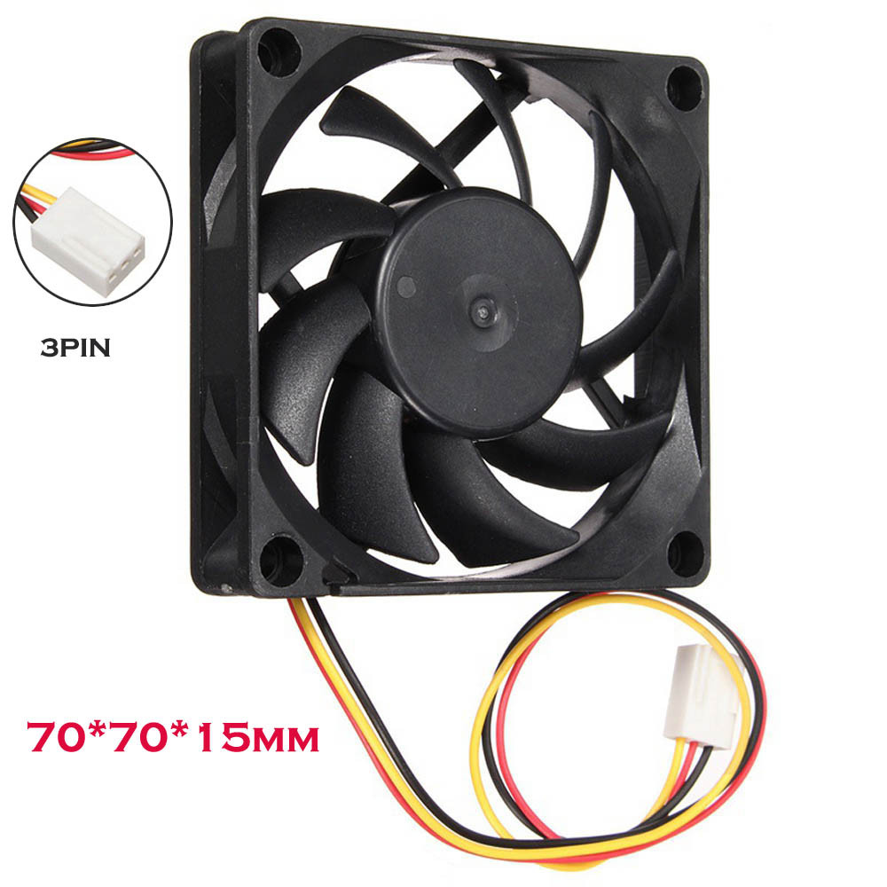 Dual Ball Bearing 12V 70mm 15mm Cooling Case Fan 70x70x15mm PC CPU Computer 3pin