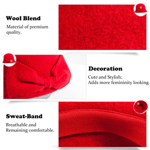 Image 5 - Fancet Women Beret Cloche Felt Hat female Bonia Winter Wool Bucket Bowler Hats Autumn 1920s Vintage Bowknot Fashion Female 16209