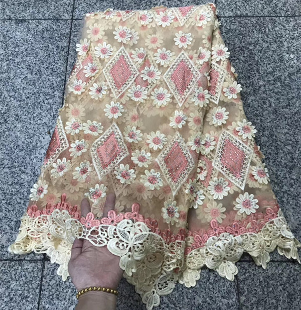 Latest african laces 2018 african french lace fabric with stone high quality 5yards nigerian lace fabrics