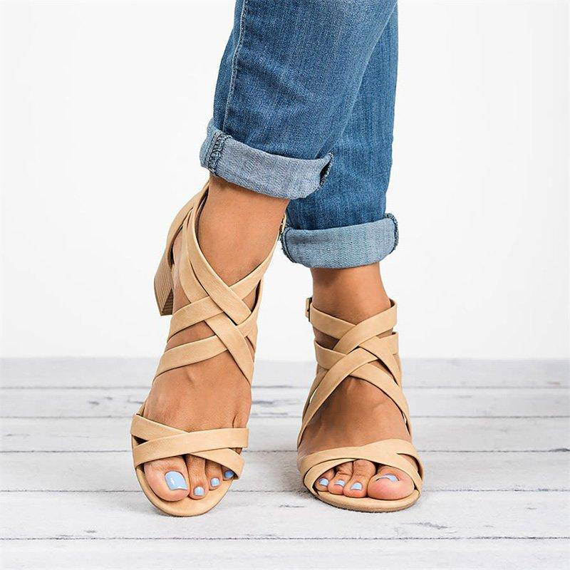2019 Ankle Wrap Heels Women Gladiator Cross Sandals Summer Shoes Women Open Toe Chunky High Heels Sandals Sandalias Mujer P25 in Women 39 s Sandals from Shoes