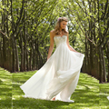 2016 Chiffon Beach Wedding Dresses Cheap A line Empire Maternity Lace wedding dress Backless Garden wedding dress Plus size wjt