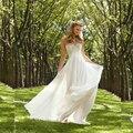 2016 Chiffon Praia Vestidos de Casamento Baratos A linha Império Maternidade vestido de noiva de Renda Sem Encosto Jardim vestido de noiva Plus Size wjt