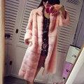 2016 marta abrigo de visón real abrigo de pieles de las mujeres abrigo largo de cuero de diseño