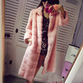 2016 women's marten overcoat real mink  fur coat long leather coat design