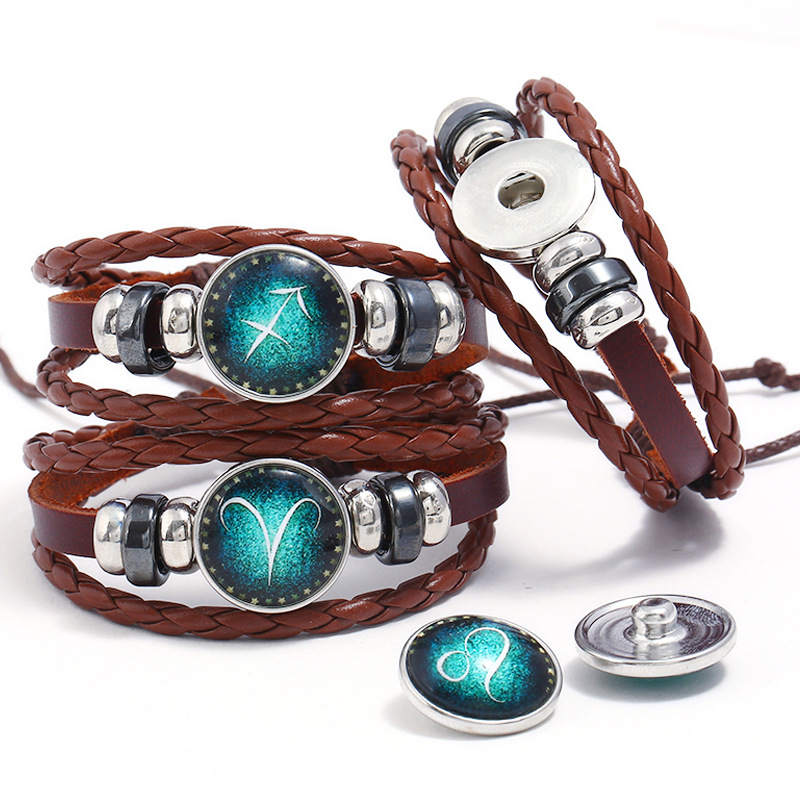 Genuine Leather Braided 12 Constellations Charm Bracelet for Men Women Signs of the Zodiac Couple Jewelry Bracelets