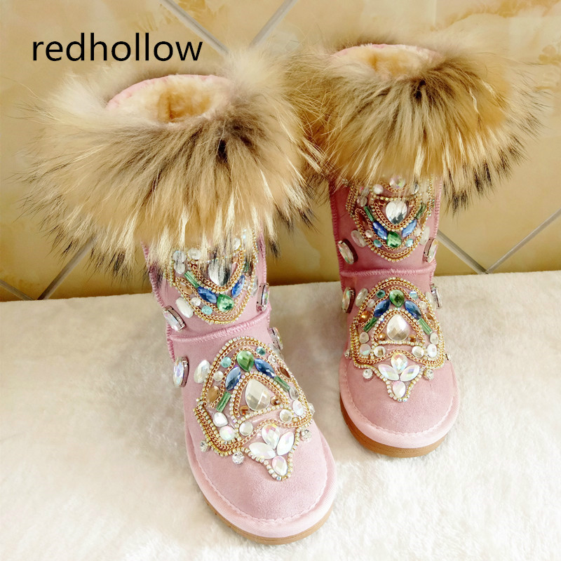 Winter Women Warm Snow Boots Fashion Crystal Luxury Hand Made Genuine Leather Shoes Women Boots Female Fur Plush Botas MujerWinter Women Warm Snow Boots Fashion Crystal Luxury Hand Made Genuine Leather Shoes Women Boots Female Fur Plush Botas Mujer