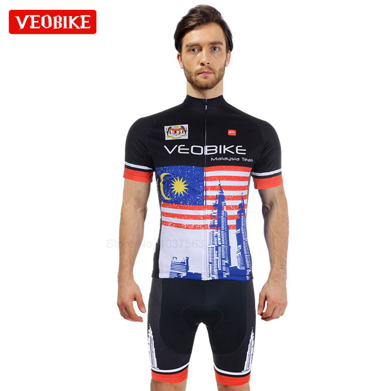 VEOBIKE Malaysia Pro Bicycle Wear Cycling Clothing MTB Breathable Bike Conjunto Ropa Ciclismo Short Running Jersey Set Camisa