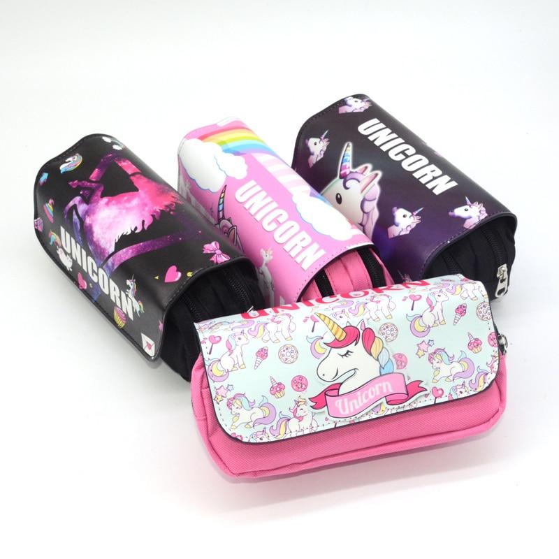 Unicorn pencil case cute pink trousse scolaire stylo leather large capacity girls boys korean kalem kutu estuche lapices kawaii|Pencil Cases| |  - title=