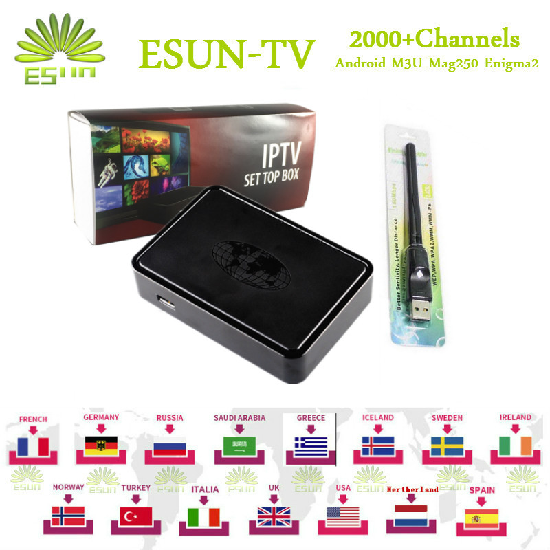 ESUN-TV MAG254 IPTV Box Linux System With 2000+Arabic Europe IPTV French Spain Germany turkish Netherlands Portugal Italy Adult