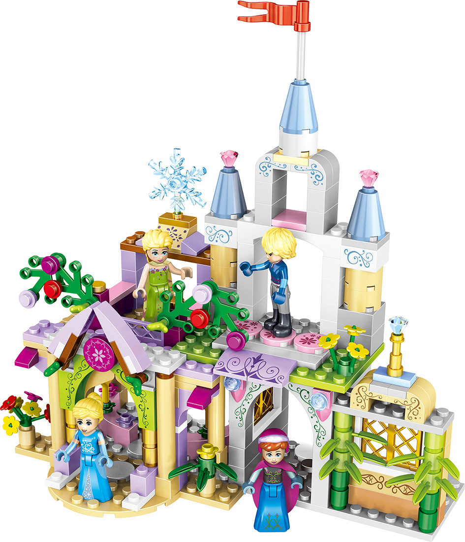 37020 Cartoon Princess Series Castle Anna Elsa Friends 4 in 1 Building Blocks Bricks Gifts Toys For Girls Compatible With Legoed new 37008 561pcs girl friends princess anna and the princess castle building kit blocks bricks toys for children gift brinquedos