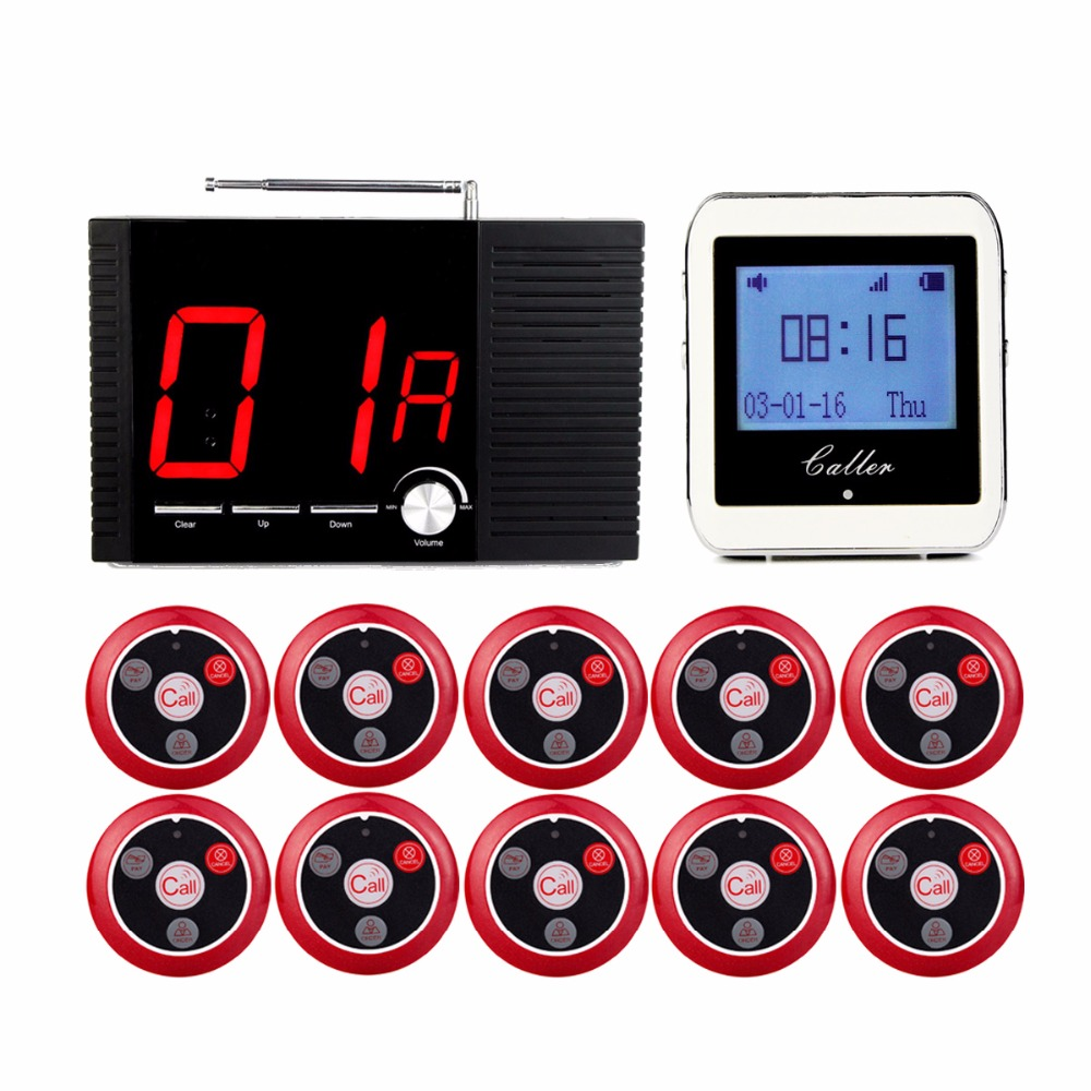 Restaurant Equipment 433MHz Wireless Wrist Watch Receiver+10 Calling Transmitter Button Call Pager Four-key Pager+1 Host Display service call bell pager system 4pcs of wrist watch receiver and 20pcs table buzzer button with single key