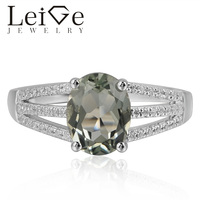 Leige Jewelry Natural Green Amethyst Gemstone 925 Sterling Silver Cocktail Party Rings Wedding Bands For Woman