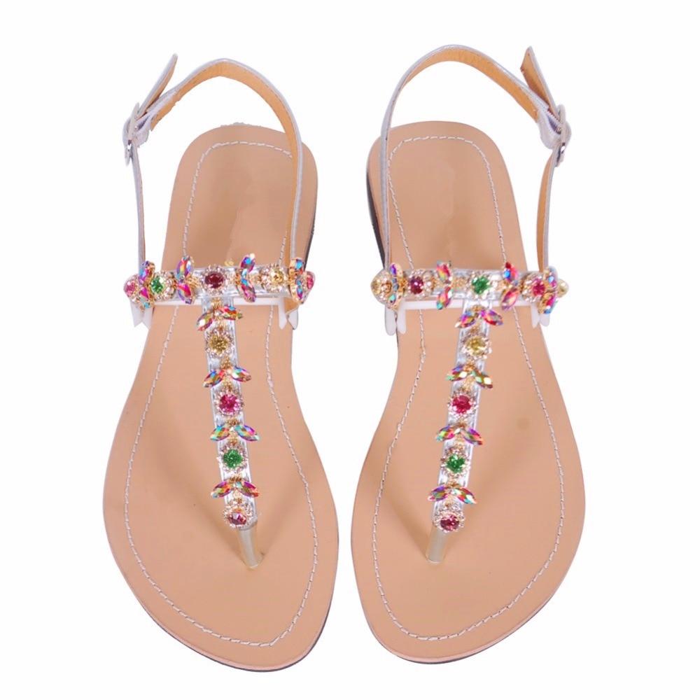 05d32f3890d9 2018 NEW Women`s summer bohemia diamond sandals women beach Rhinestone  shoes T strap thong flip flops comfortable peep toe shoes-in Women s Sandals  from ...