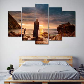 Home Decoration Posters Wall Art Pictures Frame Living Room 5 Pieces Game Of Thrones Movie Characters Scene HD Printed Paintings