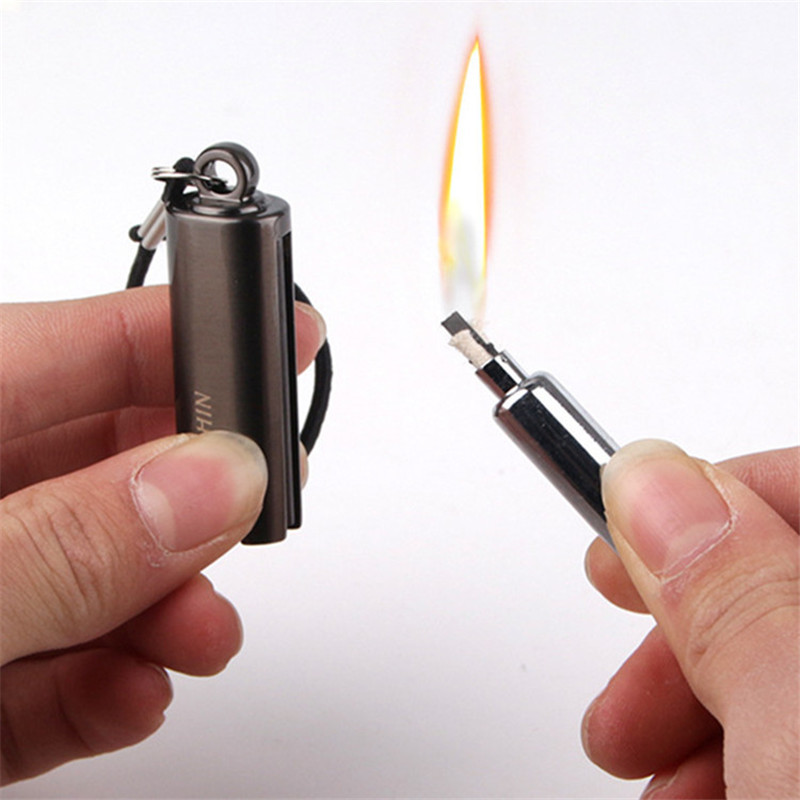 Image 2 - Survival Tool Lighter Kit for Outdoor Keychain Flint Fire Starter Shell Matches Key Chain Portable Bottle Shaped Free Fire-in Matches from Home & Garden
