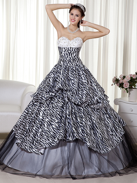 2016 New Ball Gown Zebra Print Sweetheart Black And White Princess ...