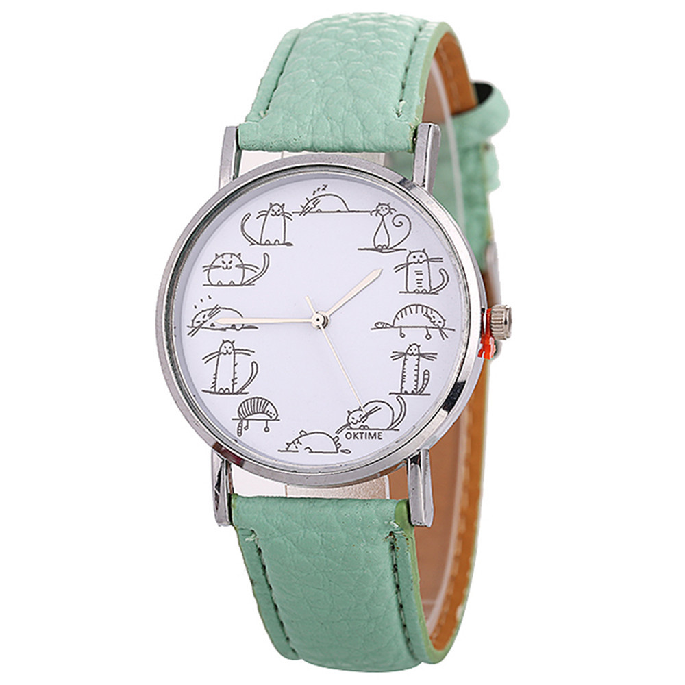 New Watch Ladies White Beautiful Fashion Creative Cartoon Cute Cat For Gift11.14