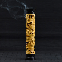PINNY Lotus Wooden Incense Burner Stick Incense Holder Smell Removing wood burner furnace Buddhist Censer Wood Craft Living Room