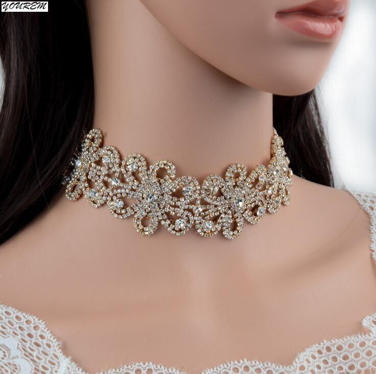 YOUREM quality luxury fashion full rhinestone flowers punk wedding party chokers necklace for women alloy drop ship ok fj647