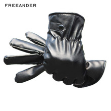 Black Man Woman Touch Screen Gloves Touch Screen Gloves Genuine  Full finger Anti Slip PU Leather Driving Winter Warm Men Mitten pair of fashionable button stripy touch screen thicken pu gloves for men