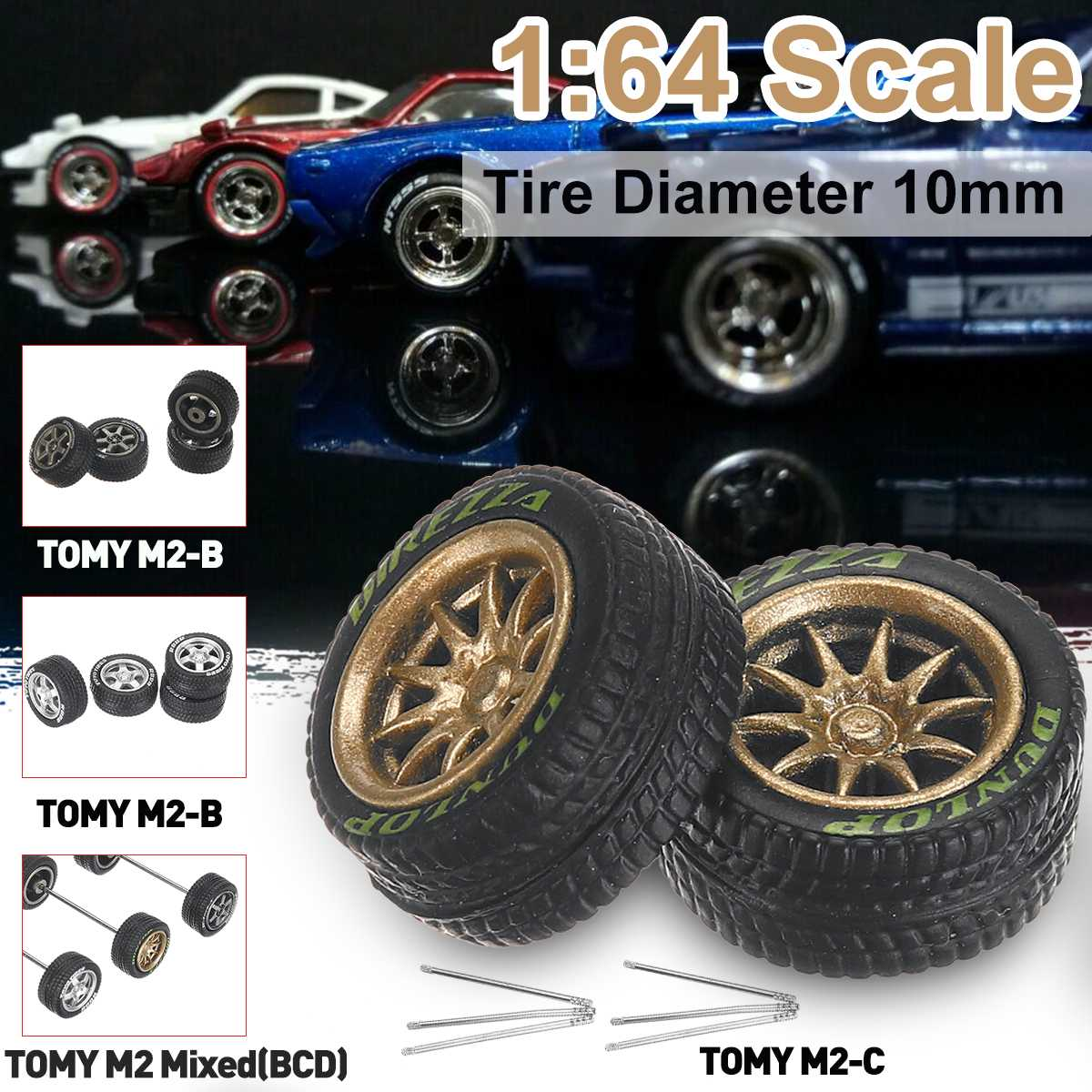 12PCS/Set 1/64 Car Wheels Tire Modified Vehicle Alloy Rubber Car Refit Wheels Tires For Cars Suitable For Cars Toys