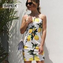 JSMY 2019 New Summer Fashion Women Sling Mango Printing Beach Vacation Hip Dress
