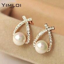 E130 Glossy imitation pearl earrings new fashion personality Rhinestone wholesale good quality Free shipping